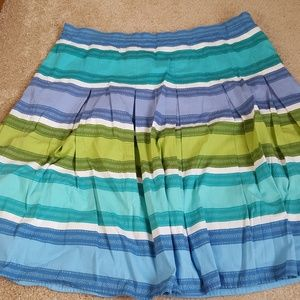Talbots Pleated Fit and Flare Skirt Cotton Striped